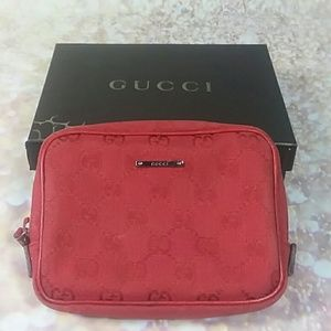 Authentic Gucci GG Monogram Red Canvas Clutch